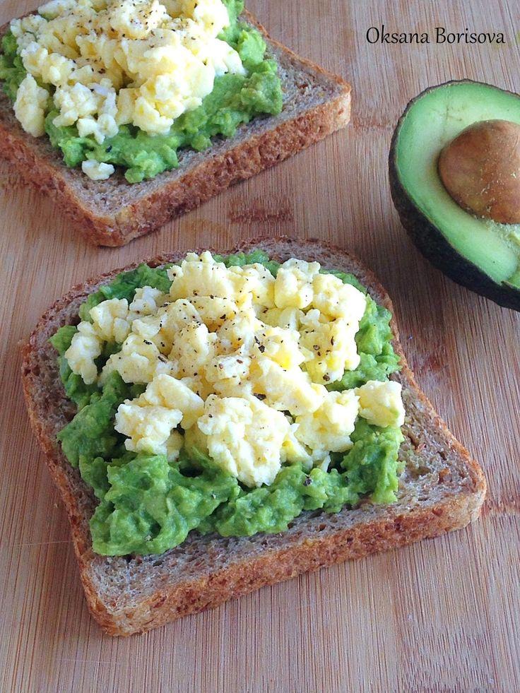 Быстрые, вкусные бутерброды с авокадо и яйцом к завтраку!   4 кусочка хлеба  2 авoкадо  3 яйца  30 мл. молока  1 ст.л. сливочного масла  ...