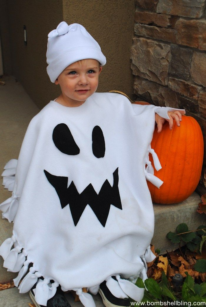 No Sew Ghost Poncho Costume1 Diy halloween costumes for