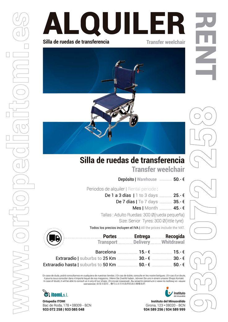 Alquiler silla de ruedas de transferencia alquiler 2016 - Silla de ruedas de transferencia plegable y portatil ...