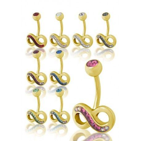 Piercing nombril Crystal Evolution Swarovski Doré Infini disponible sur Piercing Street. Petits prix, livraison en 24/48h et qualité garantie !
