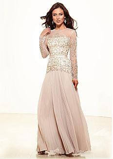 Elégant mousseline de soie A-ligne Jewel décolleté pleine longueur manches longues Mère de la robe de mariée