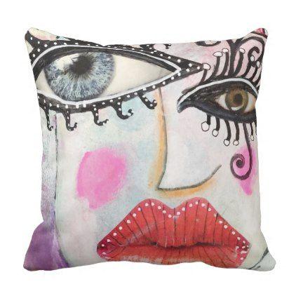 Colorful Original Bold Quirky Art Throw Pillow - dorm decor college diy cyo personalize room unique idea