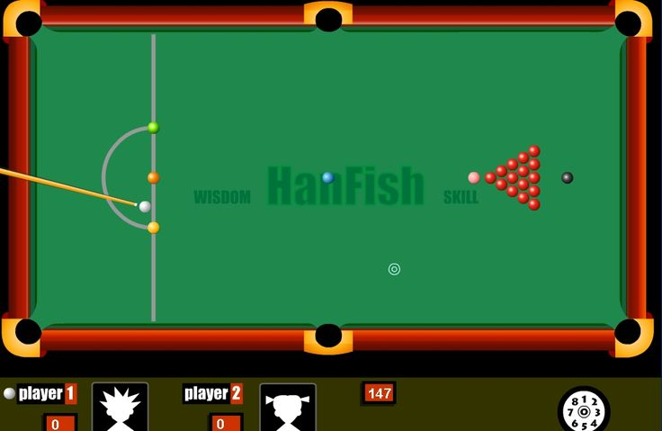 Online Snooker. Play Snooker for free with this cool flash game at www.Arcader.com | Use the MOUSE to AIM. Hold down the LEFT mouse button for power and release to shoot. See
