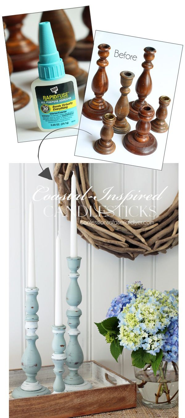Coastal-inspired candlesticks from Confessions of a Serial Do-it-Yourselfer and DAP® Rapid Fuse All Purpose Adhesive. Thrift store throw-aways never looked so good!