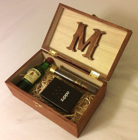 Personalized Stained Wood Box Groomsman Gift Box by BroBoxes