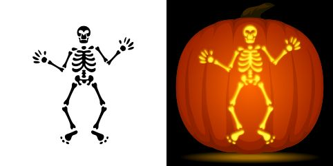 Skeleton pumpkin carving stencil. Free PDF pattern to download and print at http://pumpkinstencils.org/download/skeleton-pumpkin-stencil/