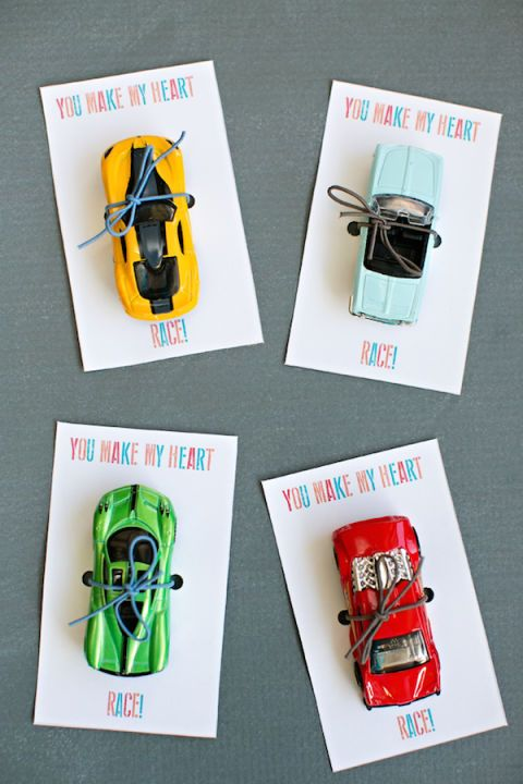 "Valentine's Day Cards for Kids - Valentine Cards - ""You Make My Heart Race"" Valentine - Make them for your kid's friends or surprise the race car lovers in your life. Want the full deets on how to DIY your own Valentine's Day card? Head over to redbookmag.com."