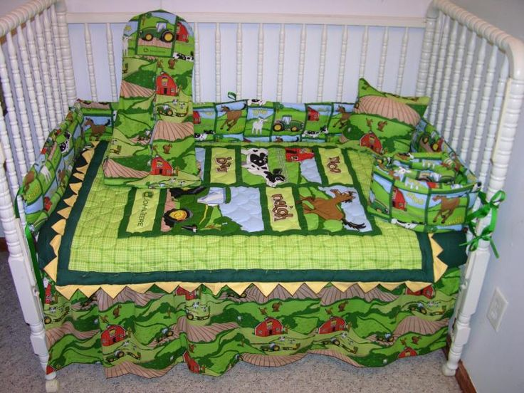 John Deere Tractor Bedding Set : Crib bedding set made w john deere tractor plaid toss