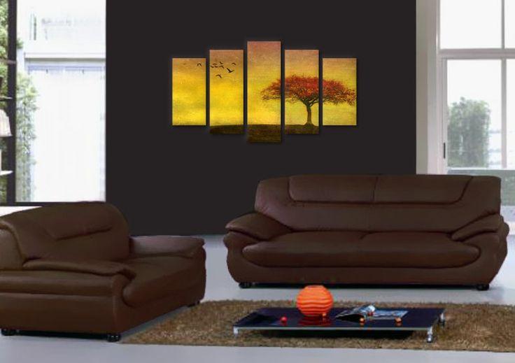 Tablou canvas 5 piese, copie digitala dupa pictura pentru un living rafinat.