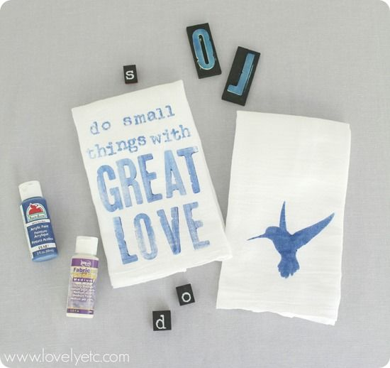 Stamping tea towels - such an easy gift idea