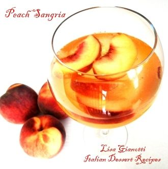 Peach Sangria     INGREDIENTS       * 1 (750 milliliter) bottle dry white wine    * 3/4 cup peach schnapps (see note below)    * 1/8 cup white sugar    * 1 pound white peaches(see substitutions below), pitted and sliced