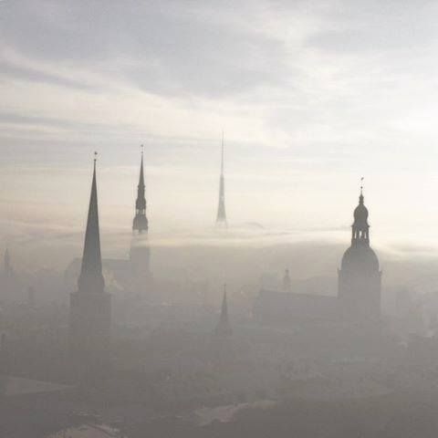 On foggy days Riga becomes a city of towers.