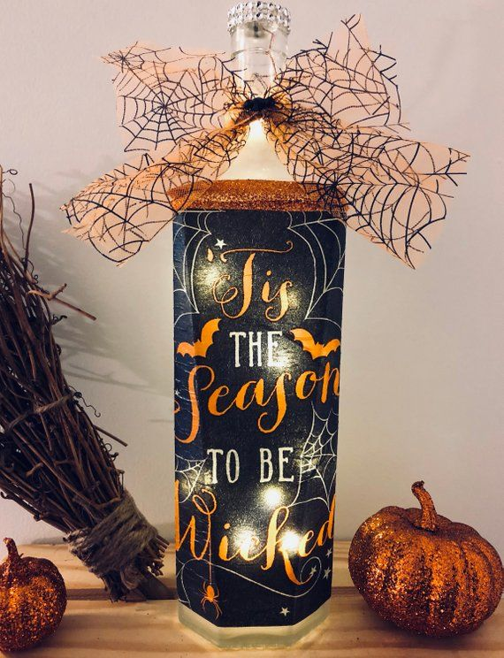 Tis the season to be wicked lighted bottle, lighted bottles, lighted - halloween lighted decorations