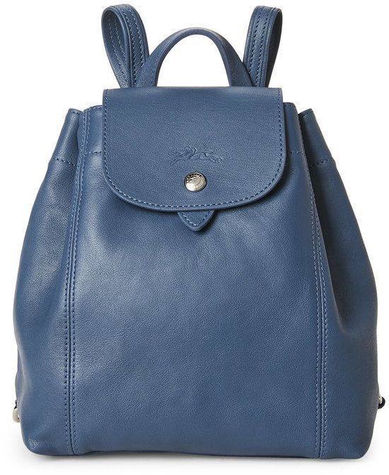 bb5408eac4d Longchamp Pilot Blue Le Pliage Cuir Backpack | Designer handbags ...