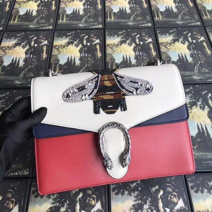 4cc348f1eb3 Gucci Dionysus Embroidered Medium Shoulder Bag 403348 White Red Blue   Guccihandbags