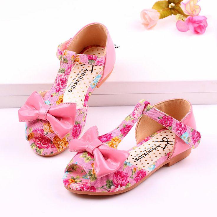 girls sandals summer 2014 love cotton flower prints female bowknot T-strap children marry jane princess wedding kids shoes $28.00