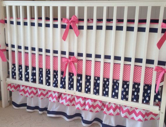 Preppy Pink Navy and White Ruffled Crib by butterbeansboutique, Want this with teething bumpers instead of crib bumpers $360