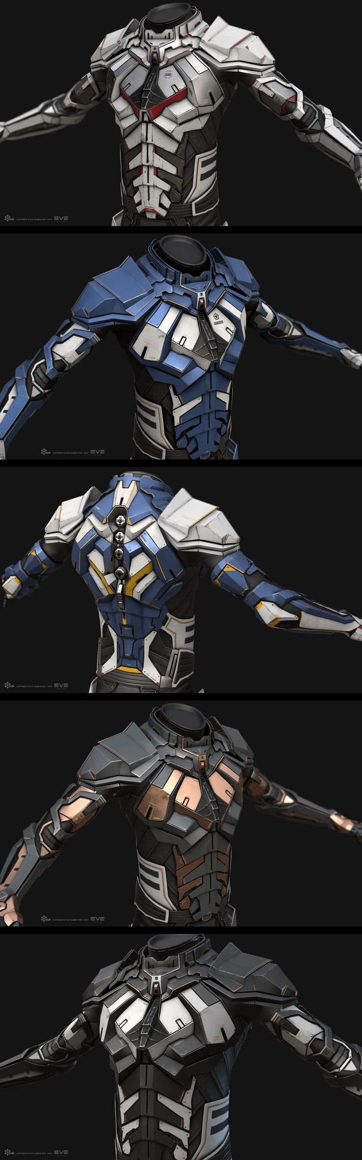 http://bokaja.cgsociety.org/art/eve-maya-online-substance-combat-painter-suit-marmoset-science-toolbag-fiction-sci-fi-space-minmatar-high-tech-armor-real-time-02-1415895 - Possible armor ideas for Southern Faction.