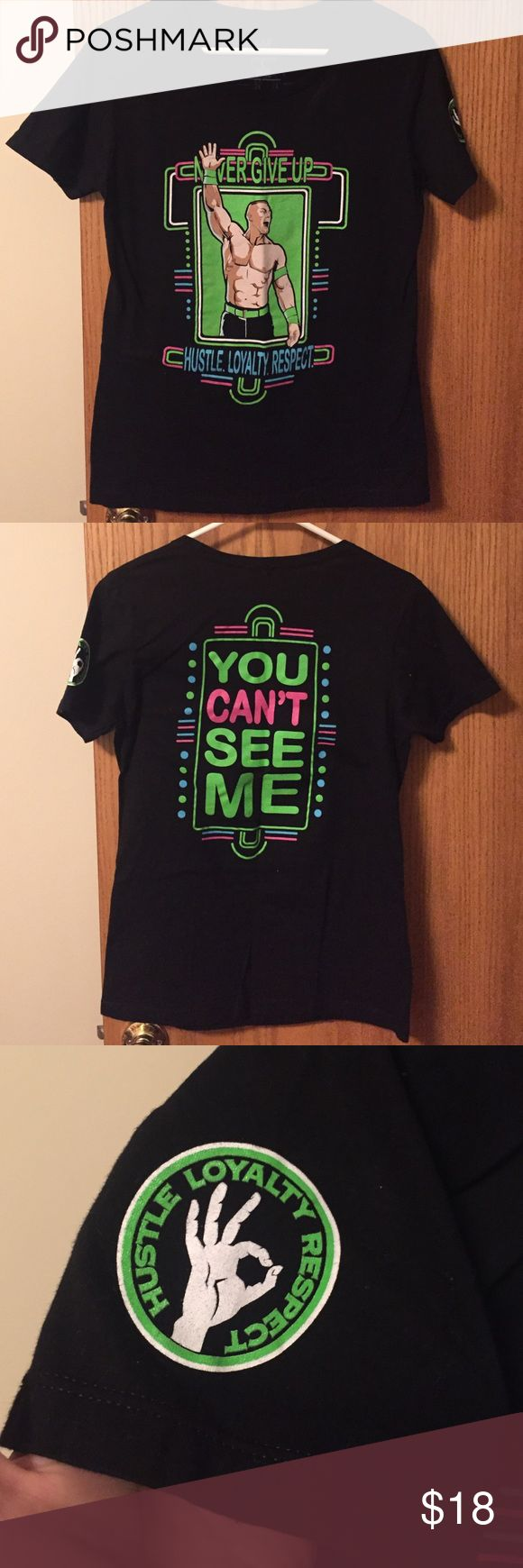 WWE John Cena ladies tee. Sz lg *read description Hustle, loyalty & respect! ✌You'll be able to drop an attitude adjustment on anyone with this authentic WWE ladies cut tee. Size large. Purchased for my daughter but she didn't like the women's cut, she prefers regular ole T shirts. These shirts run a little smaller so it's best for a medium or smaller large fit. I'm a medium & I've always purchased large women's tees from them to accommodate for shrinking. Has been washed but pretty sure not…