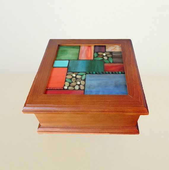 Stained Glass mosaic art Tea box or jewelry by ShellyHeissDesigns