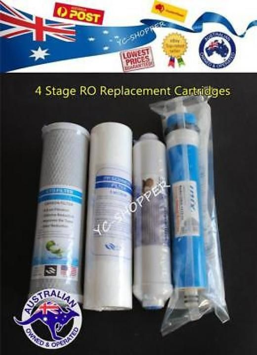 4 Stage Reverse Osmosis Water Filters + Ro Membrane Filter Kit
