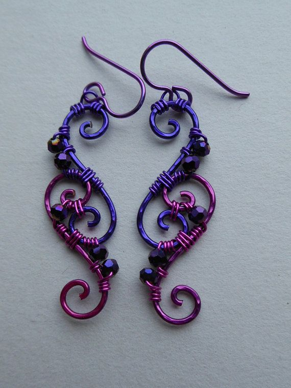 Purple/Pink Wire Spiral Earrings -- Wire Wrapped Filigree Earrings, Purple Faceted Beads