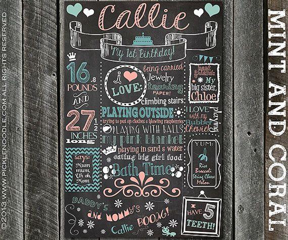 Ersten Geburtstag Tafel Poster Zeichen Printable / DIGITAL / baby's Mädchen 1. / Babys erster Geburtstag / PINK / Pinks / Plus kostenlose Web-Datei