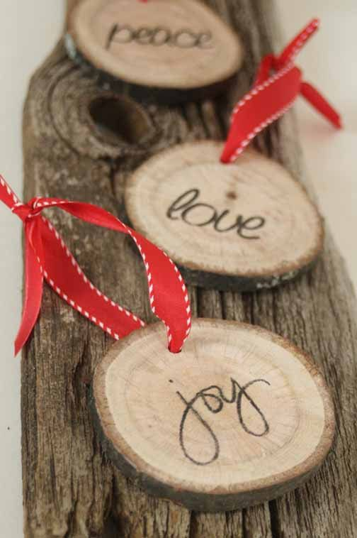 Modern Rustic Christmas Tree Ornament   Set Of Three Rustic Tree Rings With  The Words Pease, Love U0026 Joy   FREE US Shipping
