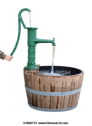 """""""Mose hates bath time, so I've been looking for fun new ways to get him clean. I think this antique water pump and barrel is just the answer. Plus how sharp would it look in the Irrigation room at my B?"""" - Dwight Schrute"""