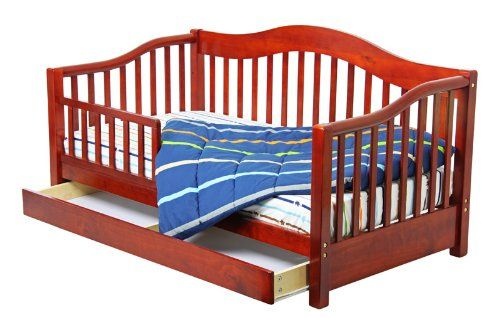 Dream On Me Toddler Day Bed with Storage Drawer, Cherry. Safety Rail. Solid wood, storage drawer, safety guard rails. Wooden mattress support rails. 50 lb weight limit, standard size Dream On Me mattress, sold separately. All necessary tools for easy assembly.