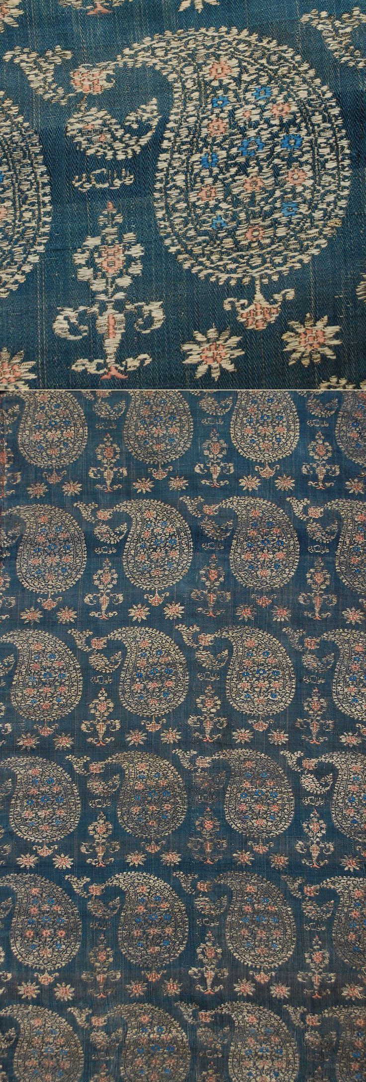 Antique Persian Textile. Silk Brocade with Silver Thread.  Safavi Dynasty  1501-1722 A.D Circa 1700