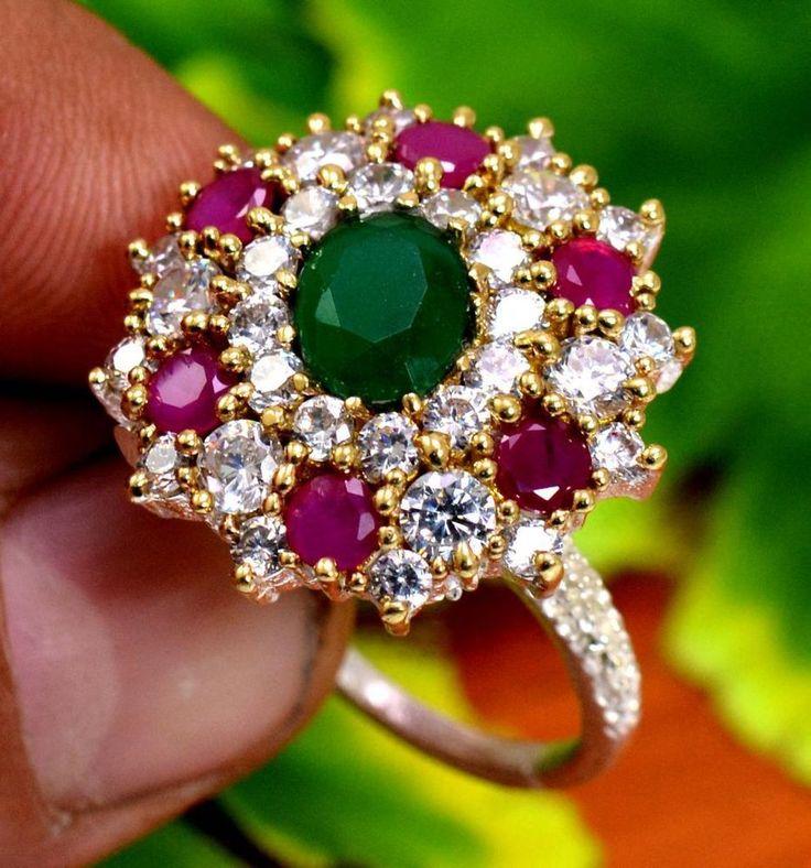 "Ruby Emerald Gemstone Turkish Victorian 925 Silver Plated Ring Size US 8"" R258 #krishnagemsnjewels #Solitaire"