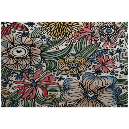 Simply Daisy 4' x 6' Zentangle Floral Floral Print Indoor/Outdoor Rug, Red
