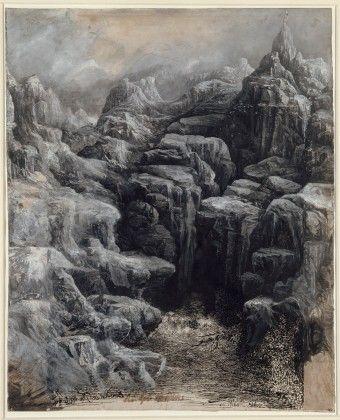 Rodolphe Bresdin - Flußlauf in den Pyrenäen oder Die großen Felsen, 1884