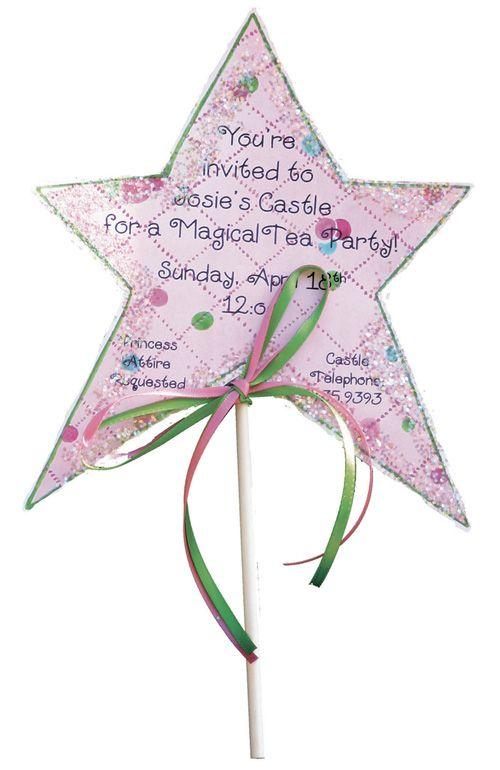 princess wand invitation use scrap booking paper glitter silver marker lollipop stick and some ribbon