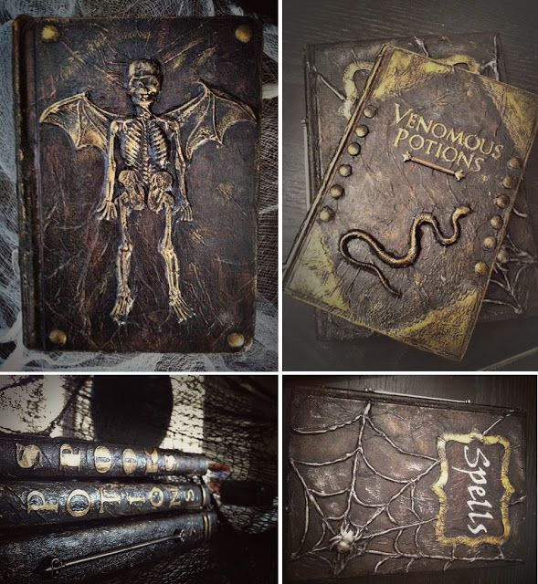 """""""I have been planning on turning some phone books into spell books! Awesome tip to make it look leather!"""" Phone books! That's brilliant."""
