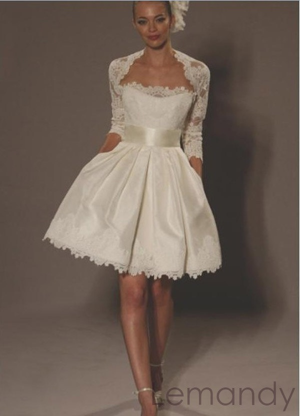 Ivory short satin and lace wedding drerss with jacket for Lace jackets for wedding dresses