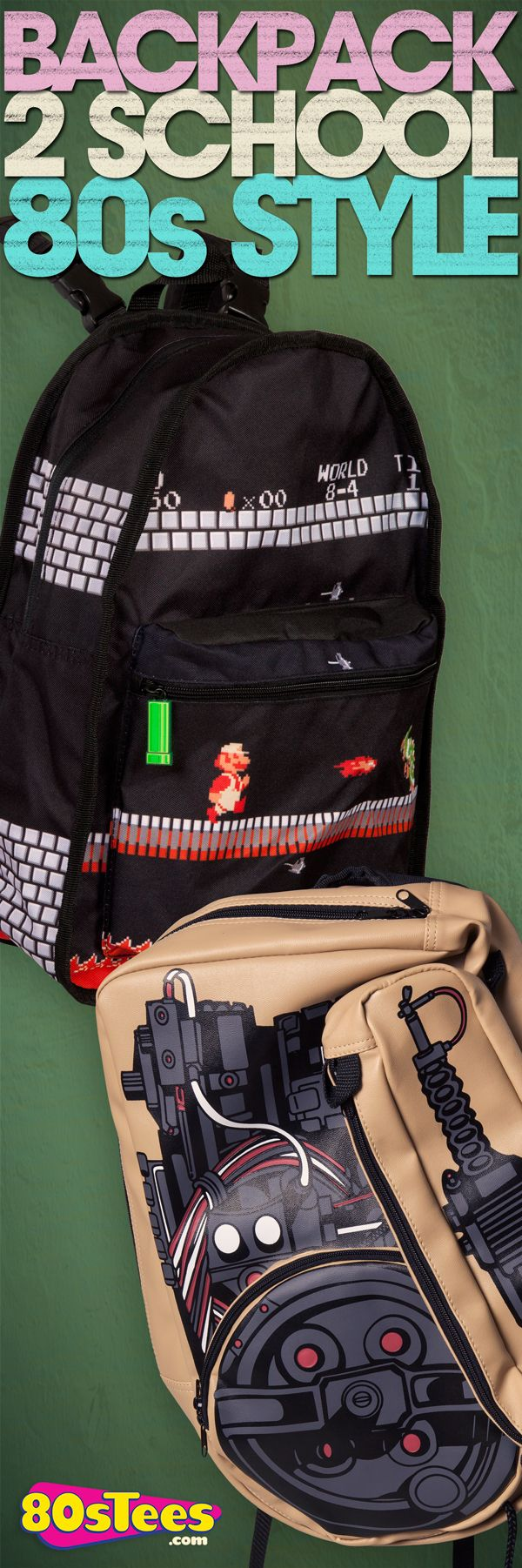 Find these awesome Super Mario and Ghostbusters backpacks exclusively at 80sTees.com!