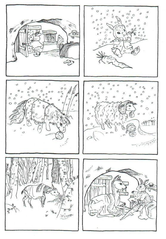 """6 images séquentielles de l'album:""""les bons amis"""",images Gerda, sur un thème de Fang Yi-K'iun, éditions du Père Castor - dis bonjour au soleil"""