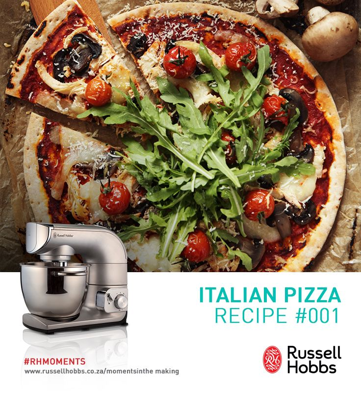 There is nothing more Italian than pizza. Learn how to make this family favourite at home, with the help of Russell Hobbs, and make ordinary meal times unforgettable moments. #RHMoments                                             Ingredients                                                 400g white bread flour, 1 sachet active dried yeast (about 2½ tsp), 250ml warm water, 1½ tbsp olive oil, ½ tsp sugar, 1 tsp salt and add toppings.