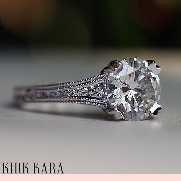 Omg, the detail on this is stunning, and it's hand-engraved! Kirk Kara Engagement ring from the Stella collection.