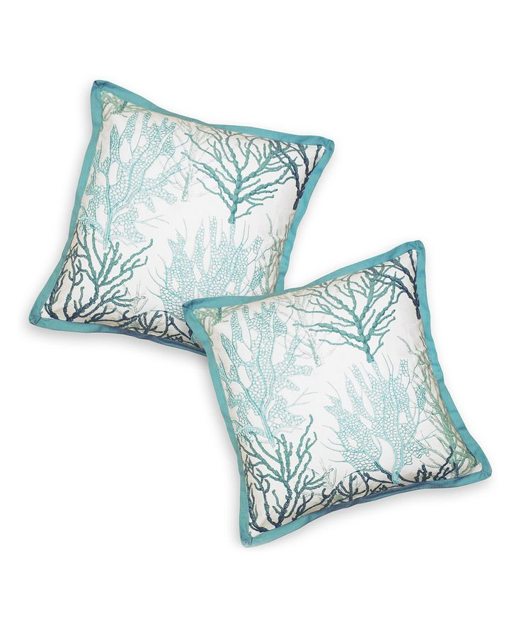 Blue Ocean Coral Throw Pillow - Set of Two Throw pillow sets, Coral throw pillows and Set of