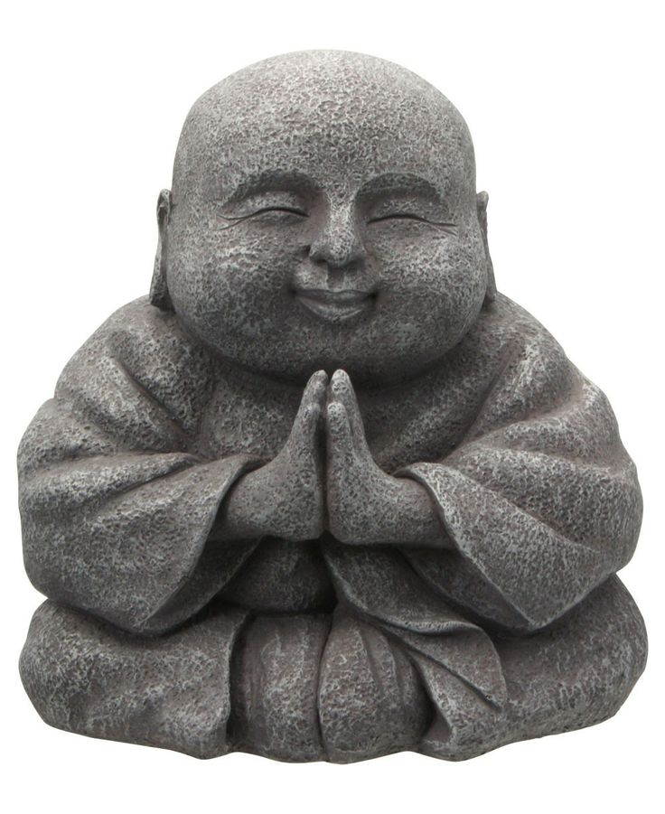 Praying Happy Buddha statue made of polystone, great for gardens! Available at BuddhaGroove.com.