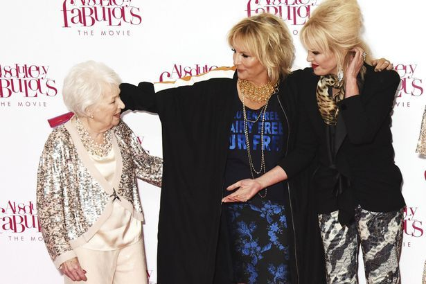 June with Jennifer Saunders and Joanna Lumley at the premiere of Absolutely Fabulous: The Movie