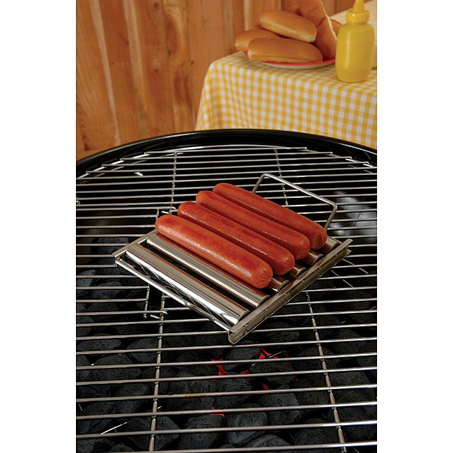 Hot Dog Roller Rack keeps your dogs off the grill grate for browned dogs without scorchingDurable BBQ accessory is made with stainless steelSleek roller rack holds up to five hot dogs at a time