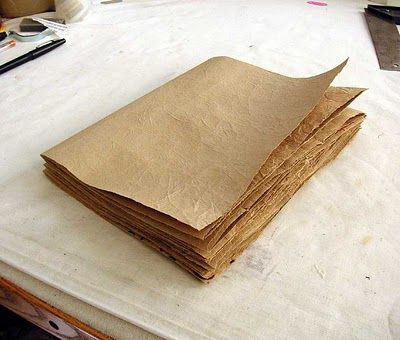 great tutorial to make books out of grocery bags... interesting methodology to get great paper texture