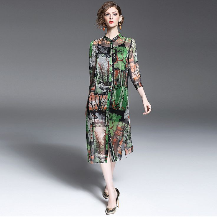 2017 Spring Silk Shirt Dress Europe Style Floral Women Dress Button Landscape Painting Robe   Women's Fashion Clothing Vestidos