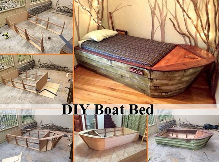 """simplehomediyideas: """" DIY Boat Bed Need a new bed design in your home? How about a bed that looks like a boat? Your kids will love this idea. Check out this DIY Boat Bed tutorial and make a bed in..."""