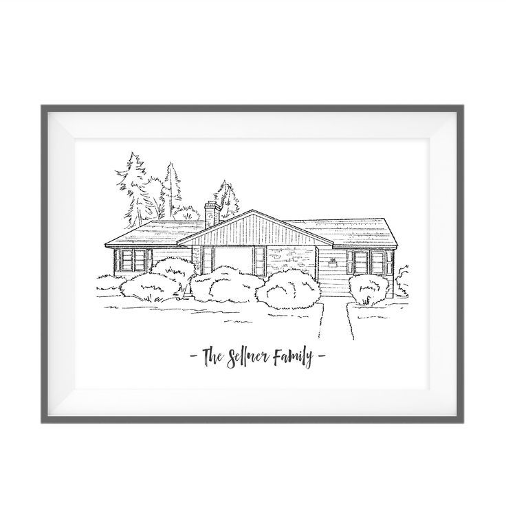 Custom house drawing, personalized house portrait, new