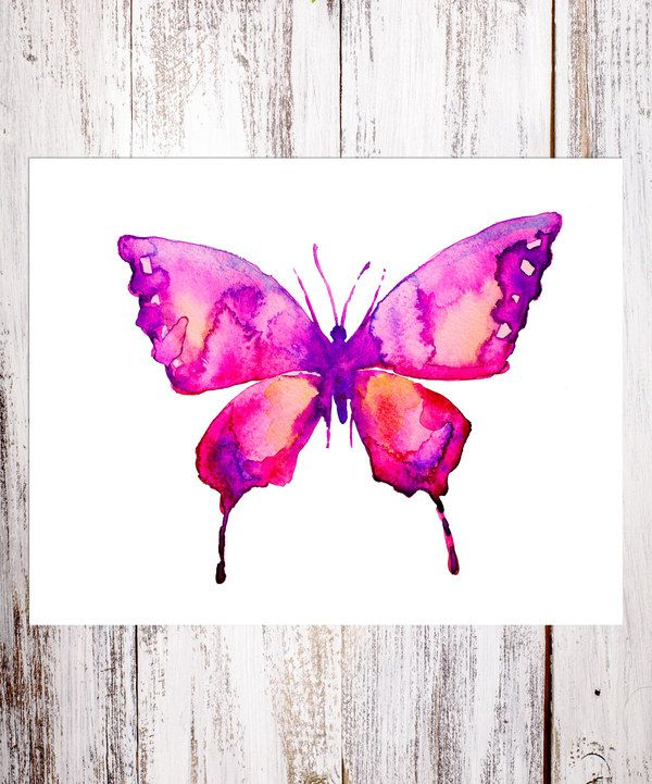 Look at this Pink Butterfly Watercolor Art Print on #zulily today!